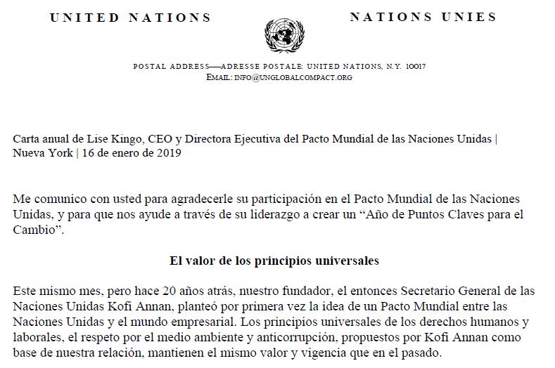 Carta Presidenta de la Red Pacto Global de Naciones Unidas
